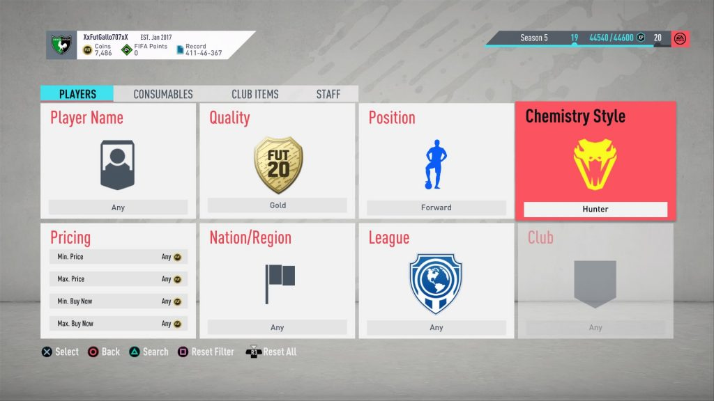 FIFA 20 Sniping Filters